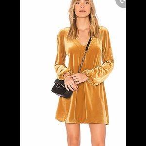 Free people velvet tunic dress gold